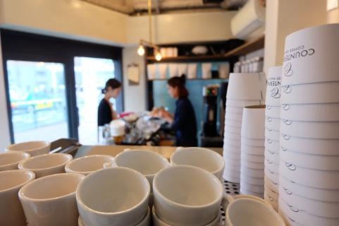 Espresso Cups in Cafe at Counterpart Coffee Gallery Shinjuku Tokyo Japan