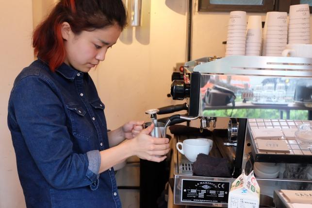 Barista Using La Marzocco Linea Classic at Counterpart Coffee Gallery Shinjuku Tokyo Japan