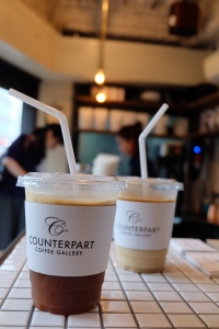 Iced drinks on counter at Counterpart Coffee Gallery Shinjuku Tokyo Japan