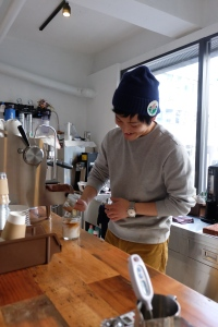 Barista Preparing Coffee at 4/4 (All) Seasons Coffee Shinjuku Tokyo Japan