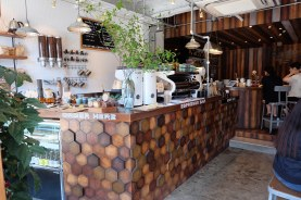 Interior Wide Shot of Unlimited Coffee Bar in Narihira Tokyo Japan