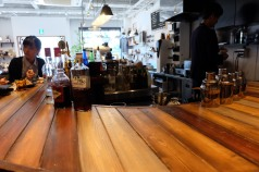 Customer Seating at Bar at Unlimited Coffee Bar in Narihira Tokyo Japan
