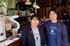 Hirai and Matsubara of Unlimited Coffee Bar in Narihira Tokyo Japan