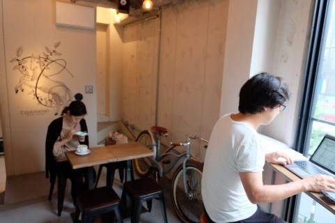 Customer seating at Counterpart Coffee Gallery Nishi Shinjuku Tokyo Japan