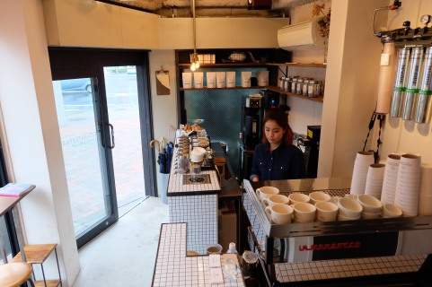 Inside Workspace at Counterpart Coffee Gallery Nishi Shinjuku Tokyo Japan