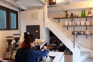 Interior of Counterpart Coffee Gallery Nishi Shinjuku Tokyo Japan