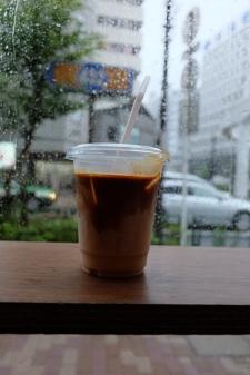 Iced Coffee by Rainy Window at Counterpart Coffee Gallery Nishi Shinjuku Tokyo Japan