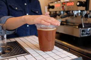 Careful Barista Hands at Counterpart Coffee Gallery Nishi Shinjuku Tokyo Japan