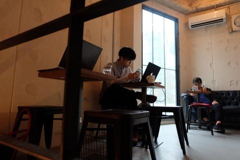 Top Floor Seating at Counterpart Coffee Gallery Nishi Shinjuku Tokyo Japan