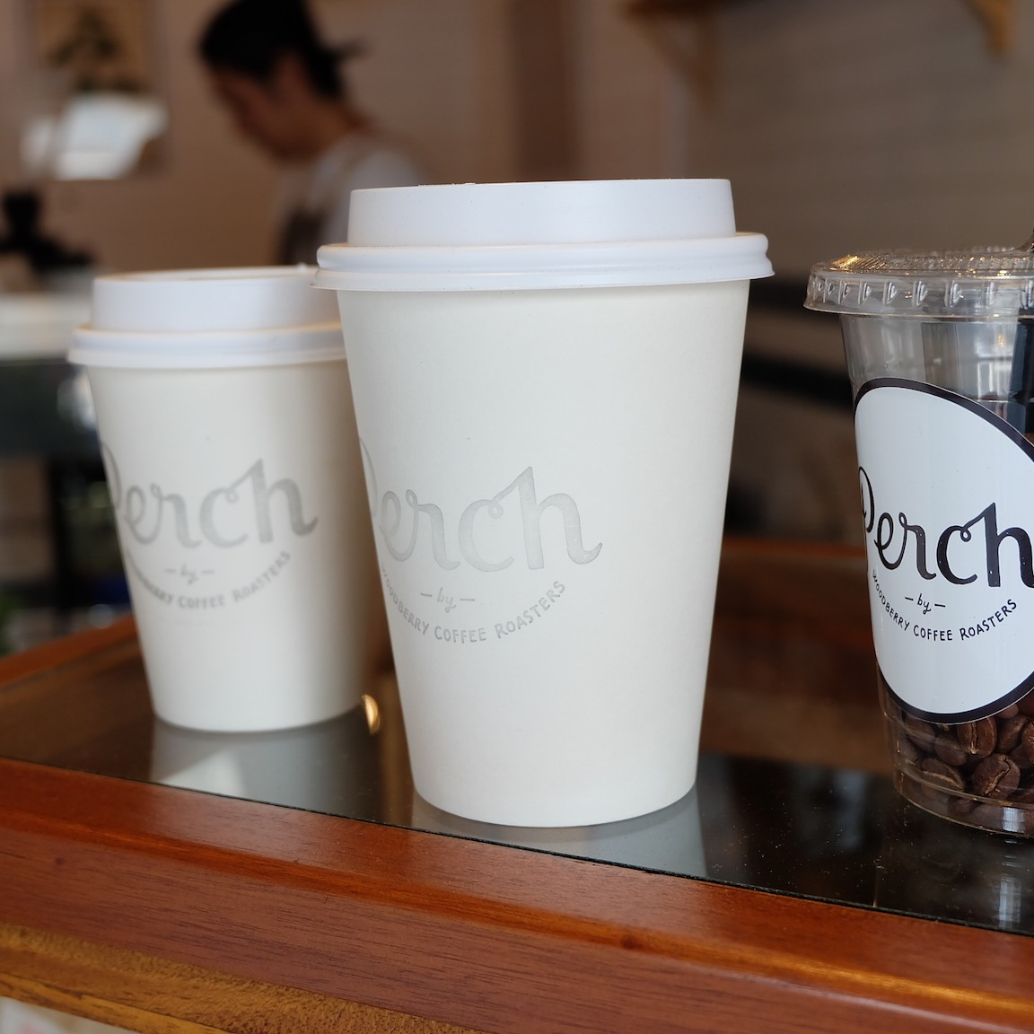 To-Go Coffee cups at Perch by Woodberry Coffee Roasters Tokyo Japan