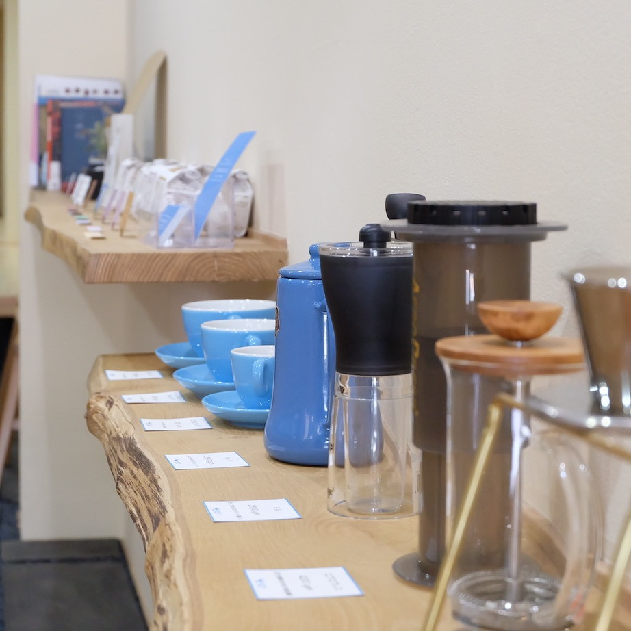 Coffee Merchandise on Display at Light Up Coffee Kyoto